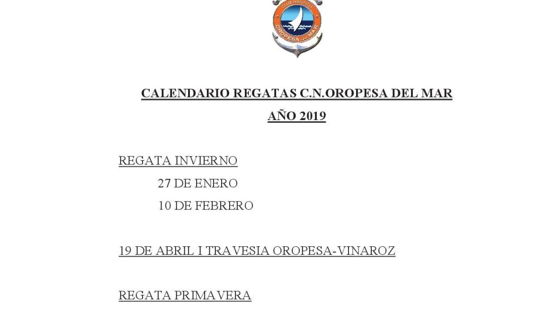 Nuevo calendario de regatas del año 2019