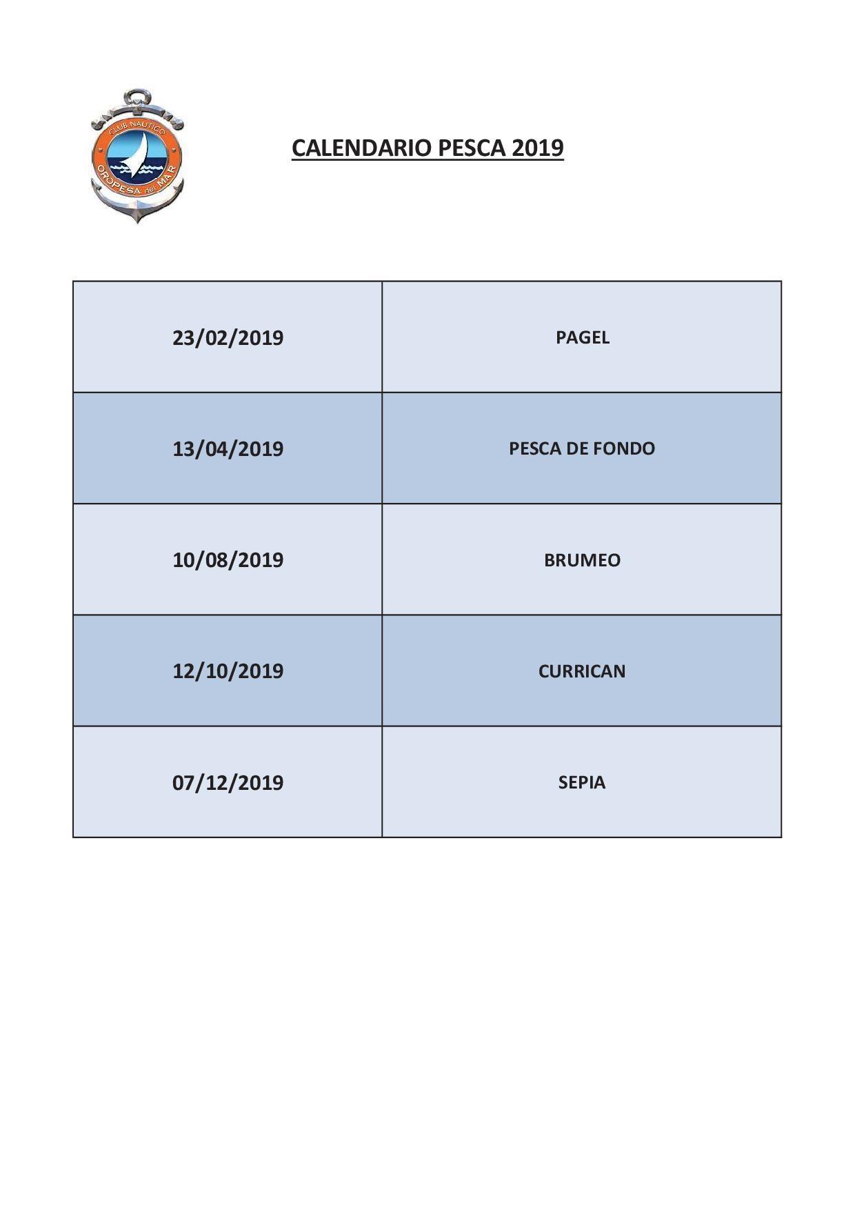 CALENDARIO PESCA 2019 - Calendario pesca 2019