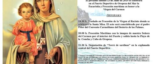 Procesión marítima Virgen del Carmen. Club Náutico Oropesa del Mar