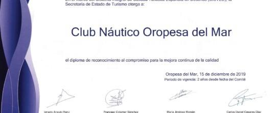 El Club Náutico Oropesa del Mar renueva su acreditación SICTED