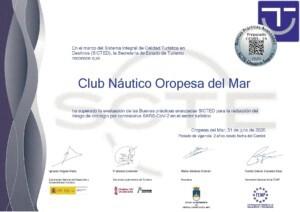 Diploma Oropesa del Mar 1 de 1 310720162358 1 300x212 - El Club Náutico Oropesa del Mar consigue el certificado SICTED acreditativo de buenas prácticas frente al Covid-19
