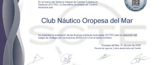 El Club Náutico Oropesa del Mar consigue el certificado SICTED acreditativo de buenas prácticas frente al Covid-19