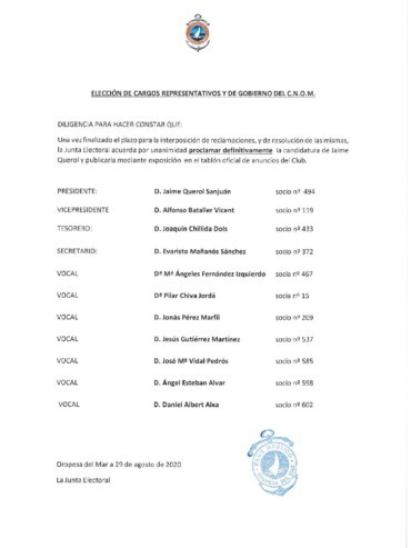 proclamación querol 370x493 - ELECCIONES CNOM 2020. CANDIDATURA DE D. JAIME QUEROL SANJUAN