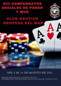 cartel poker mus CNOM 212x300 - XIII Campeonatos sociales de póker y mus. CN Oropesa del Mar